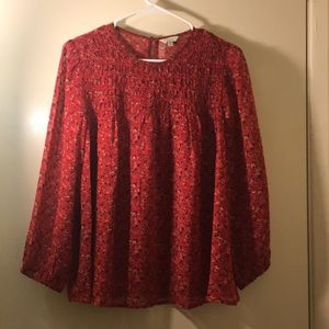 Lucky Brand Blouse. See through. Floral design